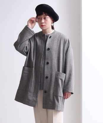 △ウール/ヘリンボン ノーカラー チュニック丈コート