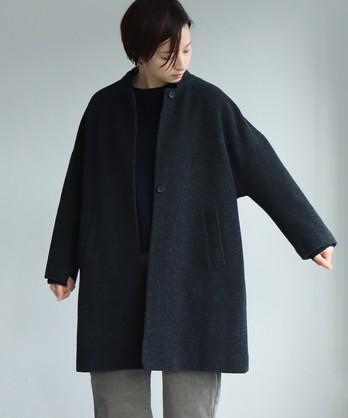 ○カシミヤ混/ボア マオカラーコート