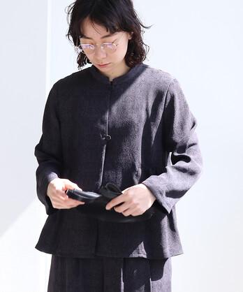 ○アセテート/レーヨン  ジャガード サイドギャザージャケット