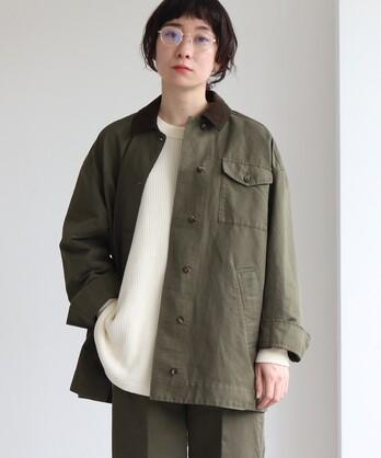 ○コットン/リネン 高密度サテン 製品染め militaryジャケット