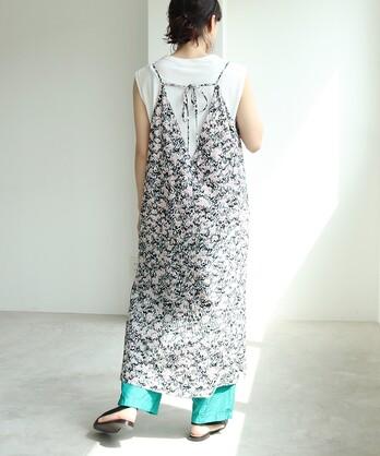 ○コットン/キュプラ blooming print camisole ワンピース