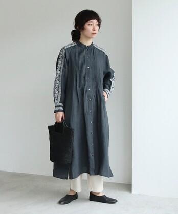 リネン/インド刺繍 ピンタックシャツワンピース