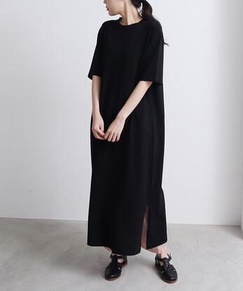 ○supima コットン/キュプラ天竺 long T-ワンピース