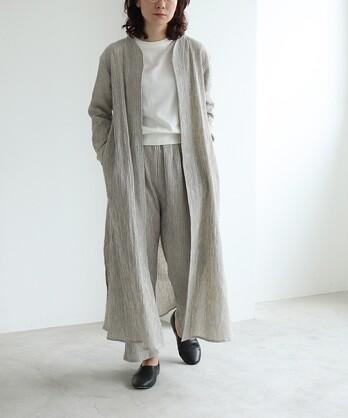 〇コットン/リネン 楊柳 stripe haori