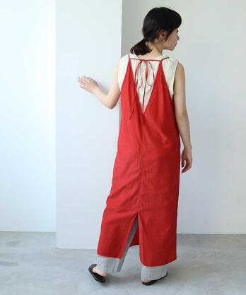 ○コットン/キュプラ product dye back ribon petti longワンピース