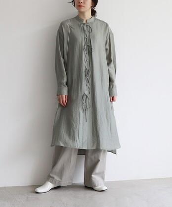 ○cellulose silk srtings シャツワンピース
