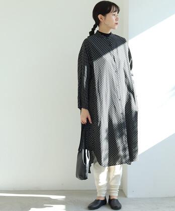 〇キュプラ/コットン dot プリント banded collar シャツワンピース