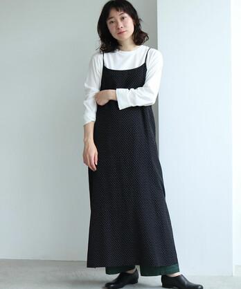 ○コットン/キュプラ dot ジャガード camisole dress