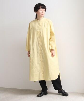〇コットン/キャッチワッシャー バンドカラーシャツワンピース