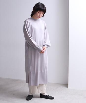 14G ウール/シルク マキシ丈パフワンピース