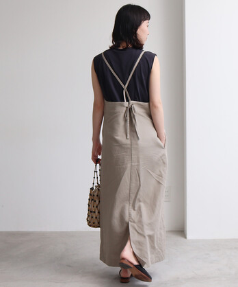 ○リネン/コットン ドビー バッグリボンジャンパースカート
