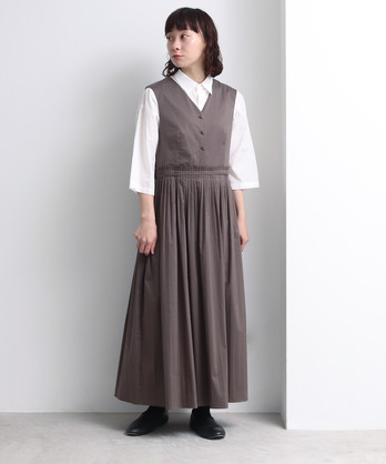 △high countコットン/ナイロン pleated 2way ワンピース