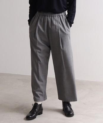 ウール混 elastic tuck パンツ