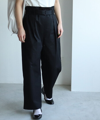 ○コットン/マスターシードギャバ belted wide パンツ