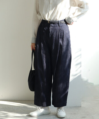 ○cotton denim back gom パンツ