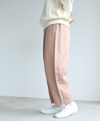 Linen Twill gom tuck パンツ