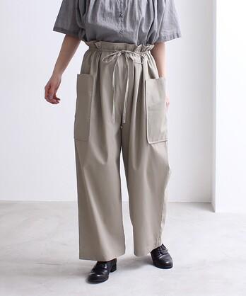 強撚コットン/ギャバ side pocket パンツ
