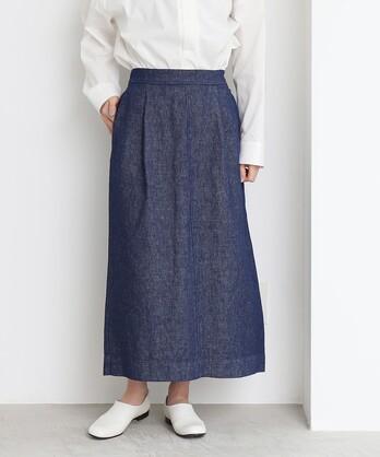 ○リネンデニム Iラインスカート
