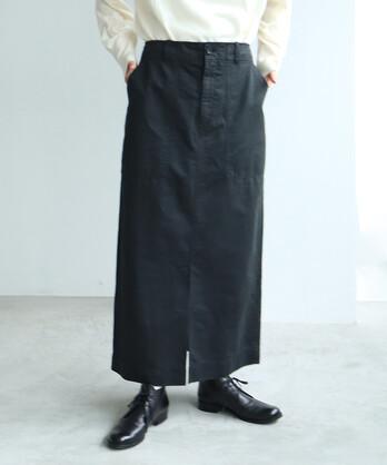 ○コットン/リネン 高密度サテン 製品染め Iラインスカート