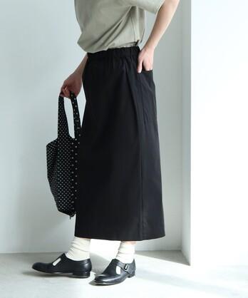 【予約販売】○80/2強撚コットンギャバ ラップIラインスカート