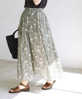 ○gradation flowerプリントタックギャザースカート