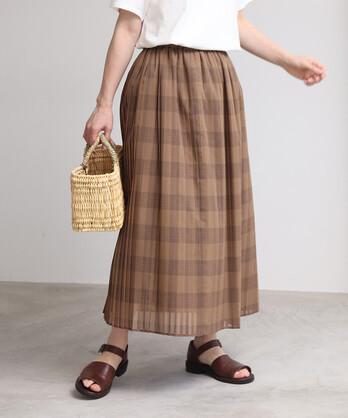 交織ローン チェックプリーツスカート