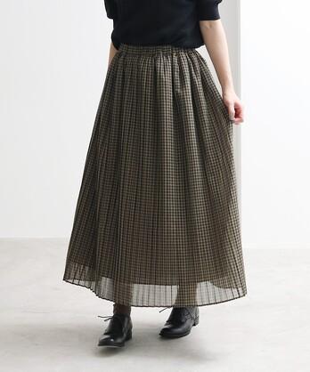 △交織ローン チェックプリーツスカート