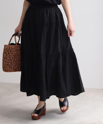 ○キュプラ混 ヘアライン ティアードスカート