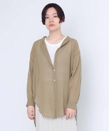 △100/2 FINX平ボイル バンドカラーシャツ