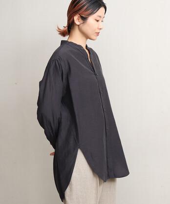 △Cu/C/Liローン製品染めバンドカラーシャツ