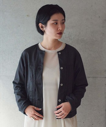 ○Washed Lether ノーカラーブルゾン