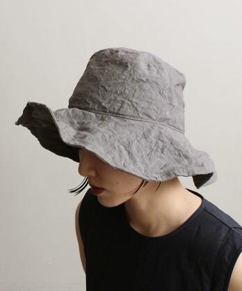 △○リネンつば広帽