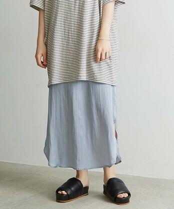 ○CU/Cサテンナチュラルヴィンテージラウンドヘムスカート
