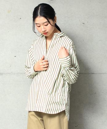 ●グラデーションストライプ バックスリットシャツ