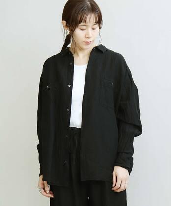 ○LINEN/CU 製品染ポケシャツ