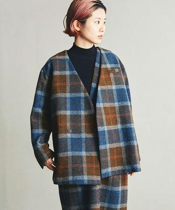 ○タータンノーカラーVネックジャケット