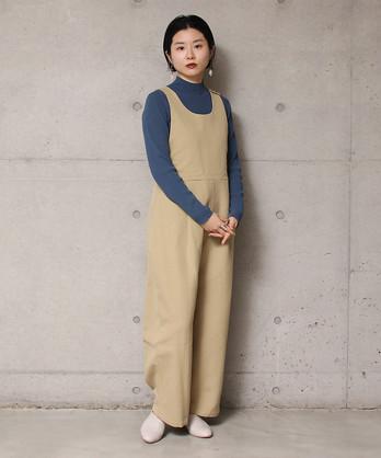 ○ コットン/リネン 二重織サロペット