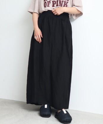 △○Linen/Cu製品染 ラップギャザースカート