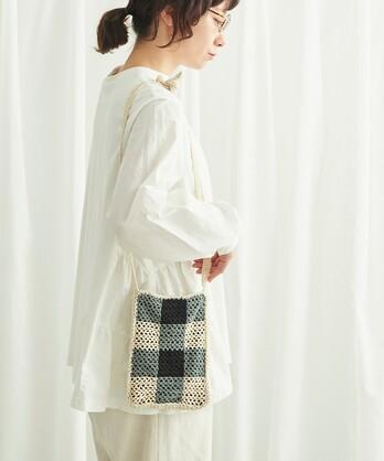 〇ギンガムブランケット編み サコッシュ