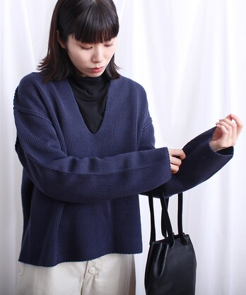 △コットン混/スキッパープルオーバー