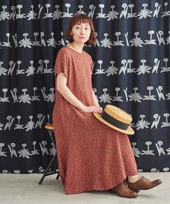 △花更紗ジャガード フレアーワンピース