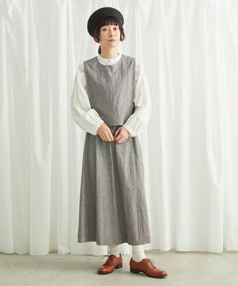 △コットン/リネン チェック  ベスト+スカート