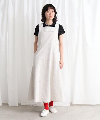 〇Linencotton交織ギャバ ジャンパースカート