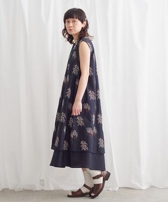 ○ミモザの花束刺しゅう レイヤードワンピース