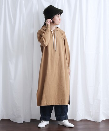 High Count Twill フードワンピース
