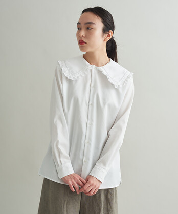 ○100/2ドビーストライプ フリルフラットカラーシャツ