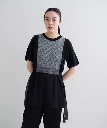 ○ニット×カットソー 重ねTシャツ