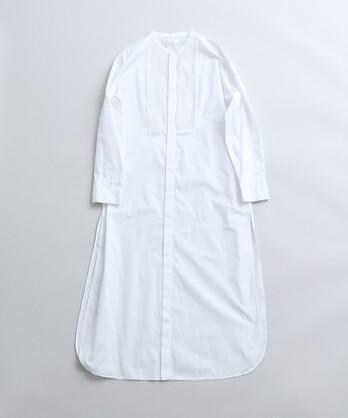 △FINX 100/2ブロード プリーツドッキングロングシャツワンピース