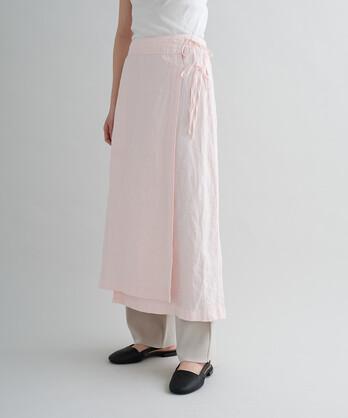 ○60高密度リネン トリプルワッシャーロングラップスカート