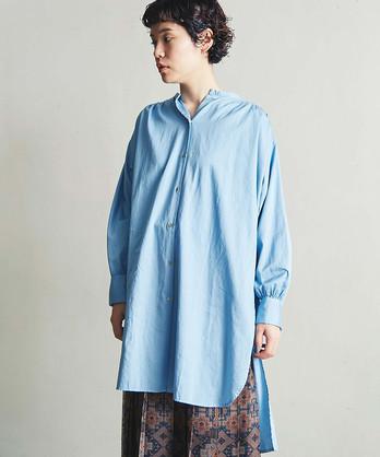 △80/2綿サテンヨークギャザーロングシャツ